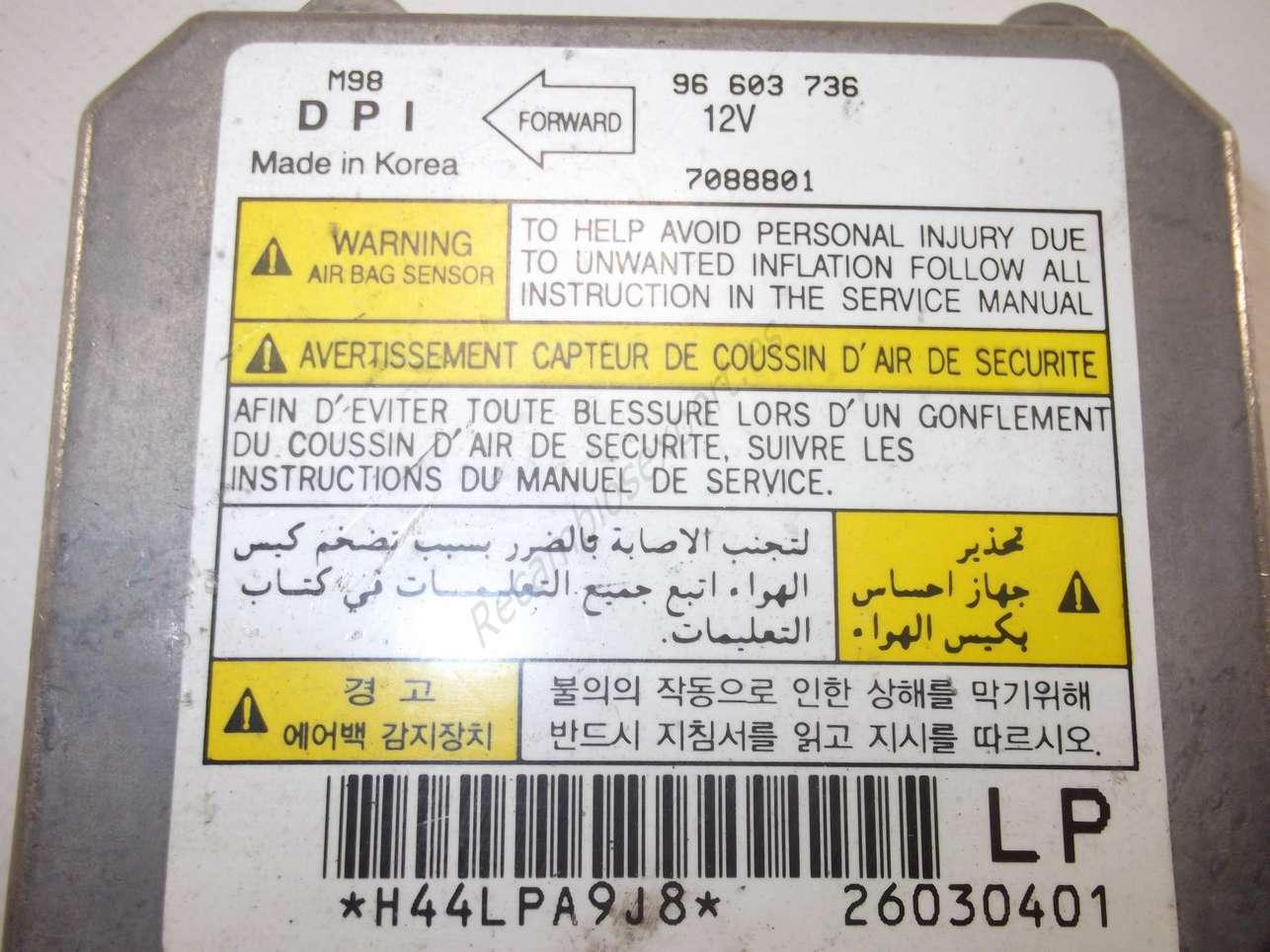 Centralita Airbag Daewoo Matiz 96 603 736 96603736 7088801 Manual